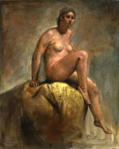Seated nude on yellow tapestry - Horacio Torres, Cecilia De Torres Ltd.