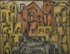 Cityscape in Gray, Pink and Ochre - Julio Alpuy, Cecilia De Torres Ltd.