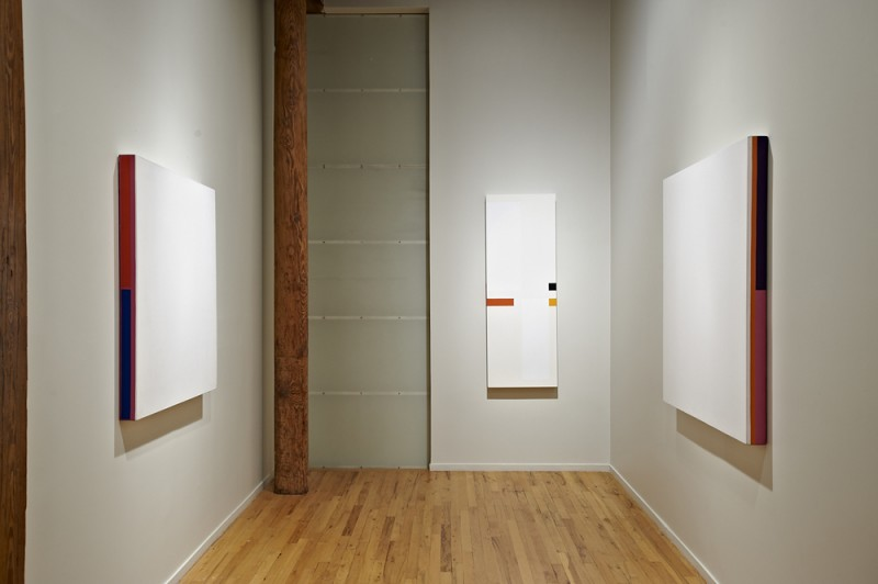 Installation view of Sagitario, 1972; Vertical-Rojo Horizontal, 2010; and I Wonder Why, 1971, Cecilia De Torres Ltd.