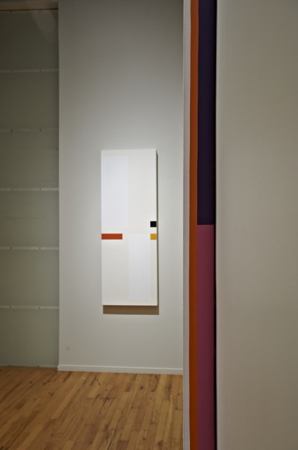 Installation view of Vertical-Rojo Horizontal, 2010 and I Wonder Why, 1971, Cecilia De Torres Ltd.